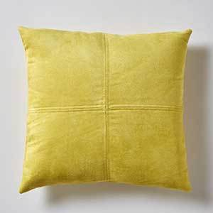 Yellow Leather Pillow Cover photo