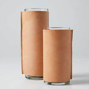Small and Large Leather Vase Vessels photo