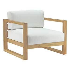 Outdoor Patio Teak Armchair with White Cushions photo