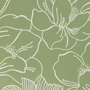 Green and White Floral Wallpaper photo