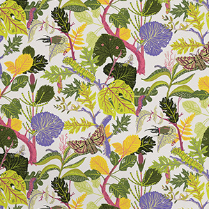 Green and Purple Wallpaper with Leaves, Caterpillars, and Moths photo