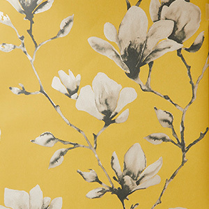 Yellow and White Floral Wallpaper photo