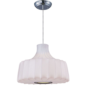 One-Light Contemporary Pendant with White Lampshade photo