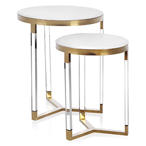 Gold and White Tables, Set of 2 photo