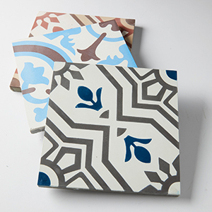 Three Pattern Tiles in White, Blue, and Coral photo