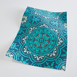 Teal Floral Wallpaper with Medallion Print photo