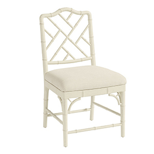 White Faux-Bamboo Chippendale-Style Dining Chair photo