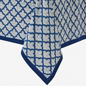 Blue-and-White Printed Tablecloth photo