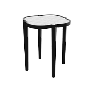 Black Side Table with White Top photo