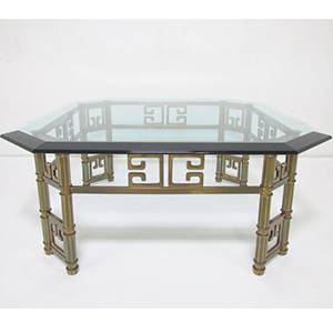 Octogonal Glass and Brass Coffee Table with Greek Key Motif photo