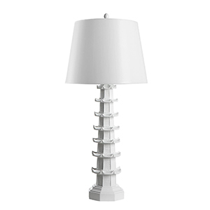 White Table Lamp with Pagoda-Style Base photo