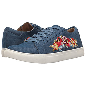 Blue Embroidered Denim Slip on Shoes with Floral Side Detailing photo