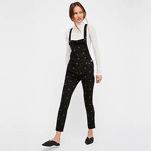 Black Embroidered Denim Overalls with Small Diamond Details photo