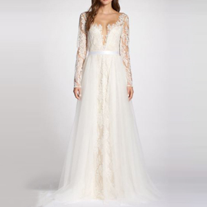 Lace long-sleeve wedding dress with a deep neckline from Nordstrom photo