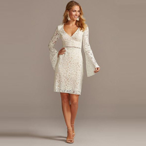 Lace knee-length wedding dress with long sleeves from David's Bridal photo
