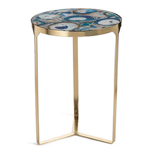 Gold home decor end table with blue agate top and gold legs. photo