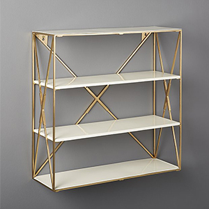 Gold home decor wall shelf with white shelves and metal frame photo