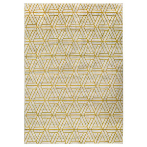 Gold home decor area rug with light gray and gold geometric pattern photo