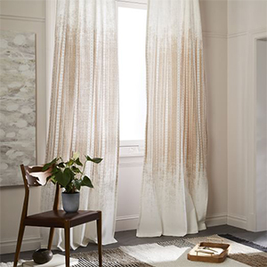 Gold home decor curtains with Egyptian pattern, set of 2 photo