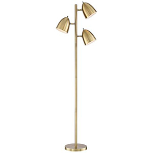 Gold home decor trio lamp with aged brass finish photo