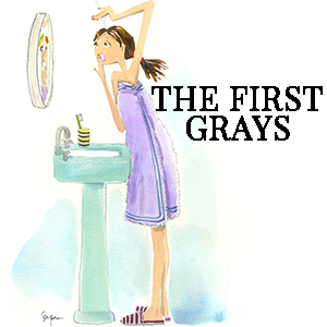 Drawing of a woman looking in the mirror for gray hairs. photo