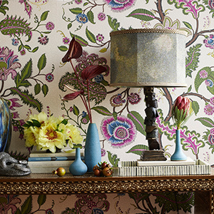 Colorful purple and green floral wallpaper. photo