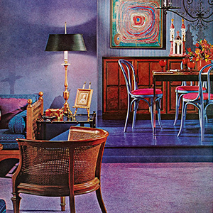 A photo from a 1956 Better Homes & Garden article that focused on decorating with the color purple. photo
