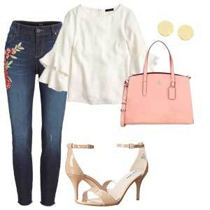 Red and pink floral embroidered jeans with pink bag, silver earrings, nude heels, and white bell-sleeve top. photo