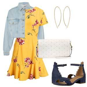 Yellow and pink floral sundress with denim jacket, navy heels, white clutch, and gold oval earrings. photo