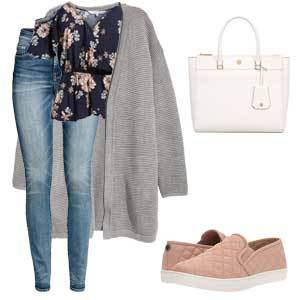 Navy floral shirt with gray cardigan, blue jeans, white handbag, and blush pink shoes. photo