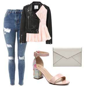 Pink and light blue floral heels with black leather jacket, blush top, ripped blue jeans, and a white clutch. photo