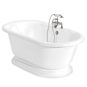 White porcelain-like freestanding bathtub with chrome faucet in the middle. photo