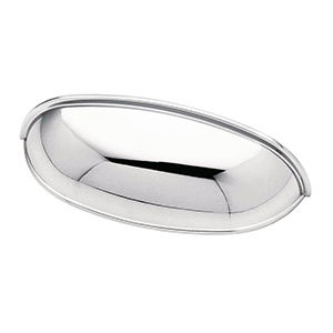 Polished chrome cabinet pull in a cup shape photo