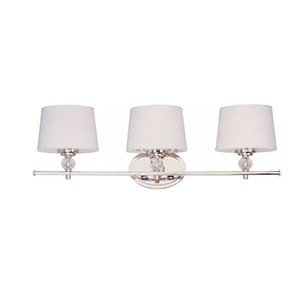 Bathroom wall sconce with three lights and a polished nickel finish photo