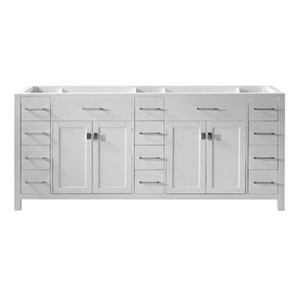 White double-basin vanity with four doors and 14 drawers photo