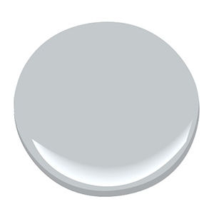 A light gray paint chip from Benjamin Moore photo