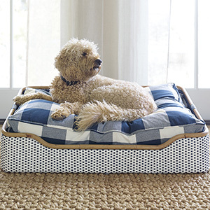 Serena and Lily dog bed with blue and white checks photo
