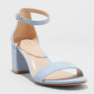 Light blue ankle strap sandals with block heel. photo
