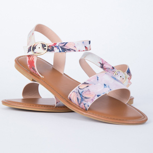 Sandals with watercolor floral print. photo