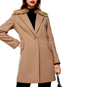 Long beige coat with a faux fur collar from Nordstrom photo