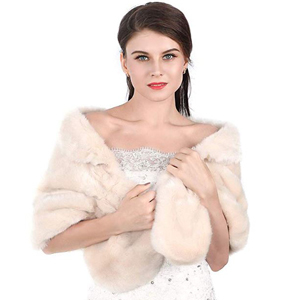 Beige faux fur shawl from Amazon photo