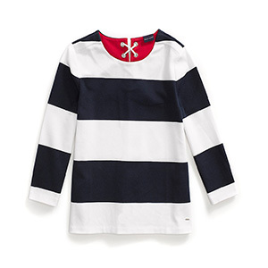 Tommy Hilfiger Adaptive three-quarter length top with bold white and navy stripes featured on it. photo