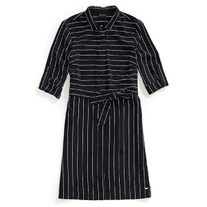 Tommy Hilfiger Adaptive navy shirtdress with thin white stripes, three-quarter rolled sleeves, and a decorative belt. photo