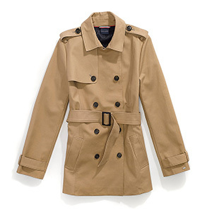 Tommy Hilfiger Adaptive tan trench coat with collar, eight buttons on the front, and belt. photo