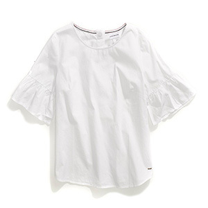 Tommy Hilfiger Adaptive white top with buttons up the back. photo
