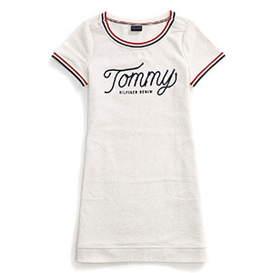 Tommy Hilfiger Adaptive short-sleeve cream-colored dress with