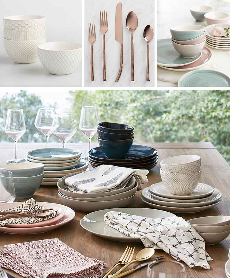 World Market dining set with white bowls, rose gold flatware, and stoneware dinnerware photo