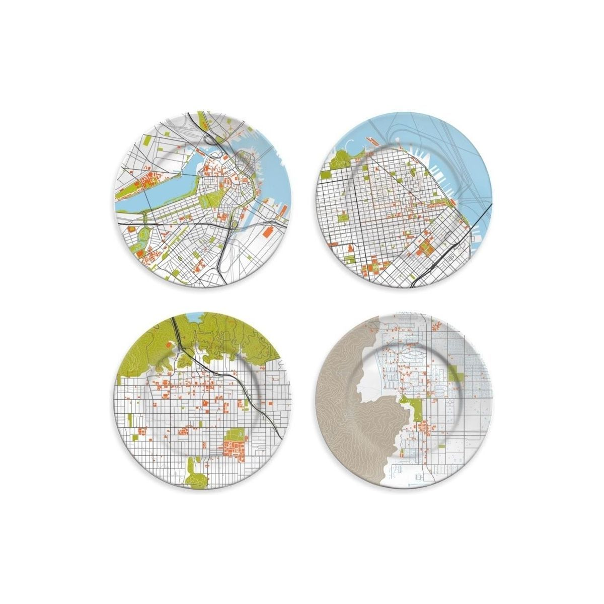 Houzz plates with city maps on them photo