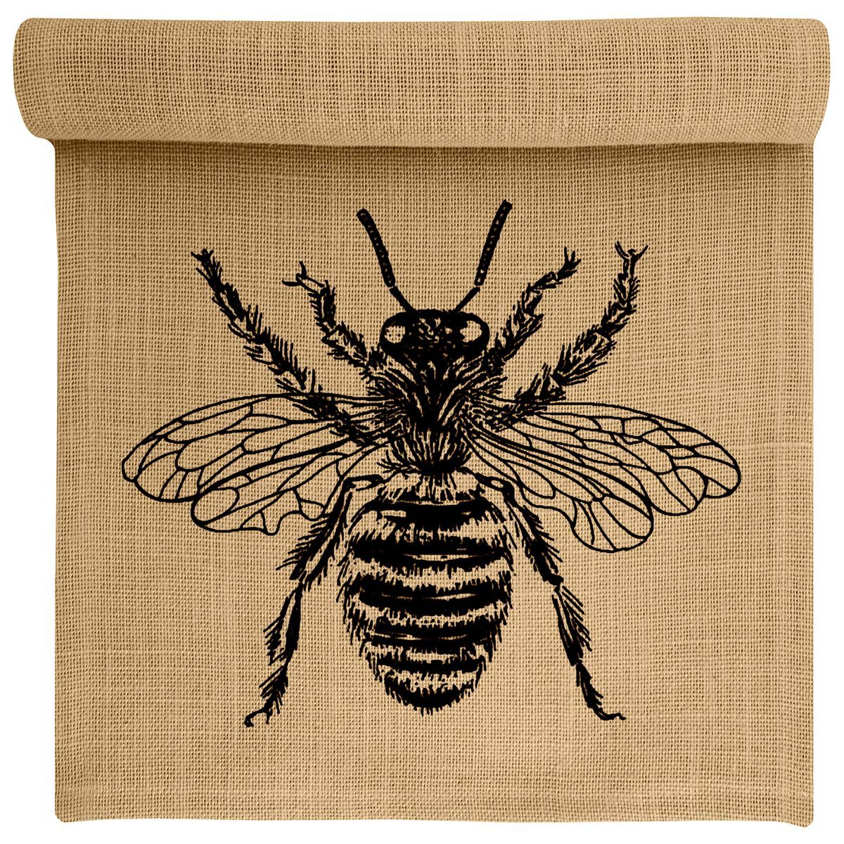 Houzz handmade burlap table runner with bee on it photo