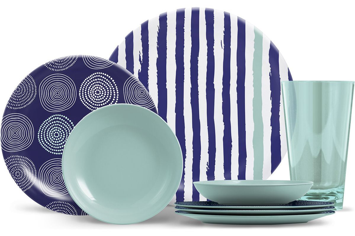 Houzz dinnerware set with blue and green plats, bowls, and cups photo